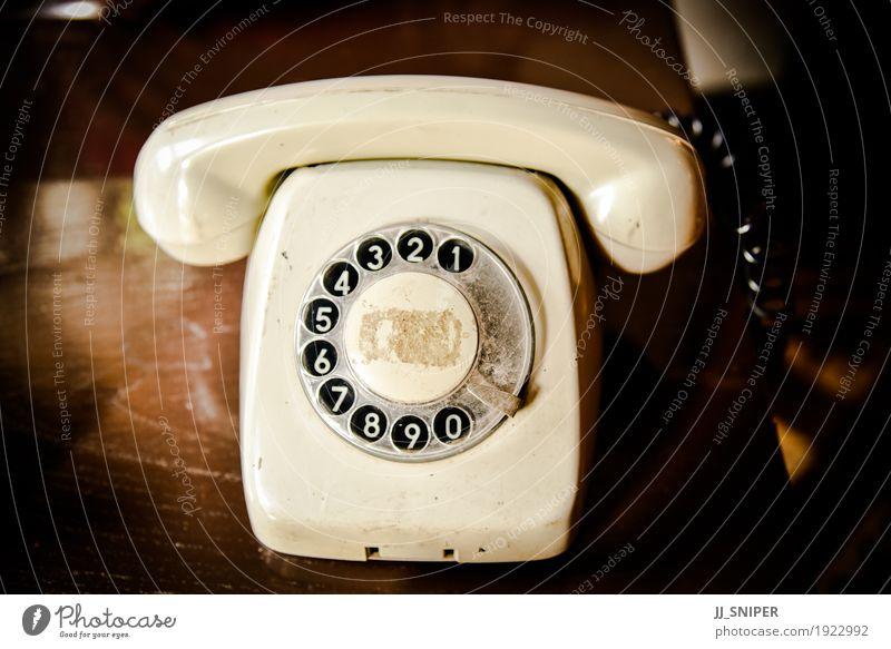 Vintage Telefon Lampe Büro Business sprechen Technik & Technologie Holz Ziffern & Zahlen Linie alt Kommunizieren Telefongespräch dreckig retro braun schwarz