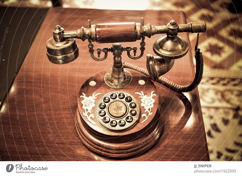 Vintage Telefon Tisch Büro Business sprechen Technik & Technologie Holz Linie alt Kommunizieren Telefongespräch dreckig retro braun schwarz Kontakt Nostalgie