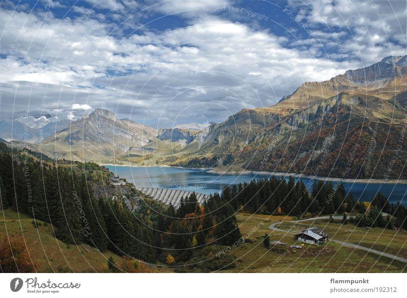 Col du Pré Natur Wasser Baum grün Wolken Ferne Herbst Berge u. Gebirge See Landschaft hoch Europa Alpen fantastisch Hütte Frankreich