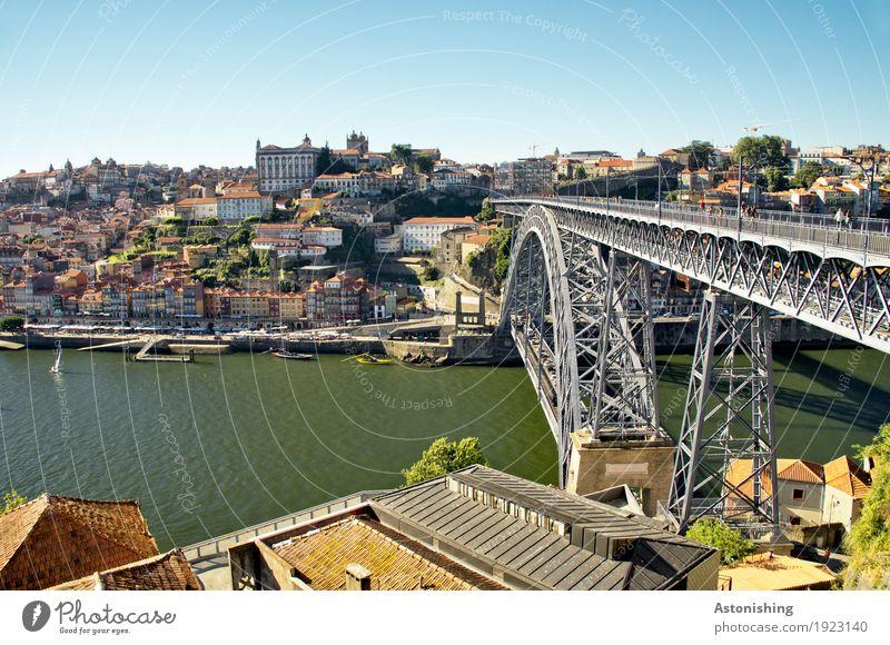 Ponte Luis I Umwelt Natur Wasser Himmel Horizont Sommer Wetter Schönes Wetter Flussufer Douro Porto Portugal Stadt Hafenstadt Stadtzentrum Haus Palast Brücke