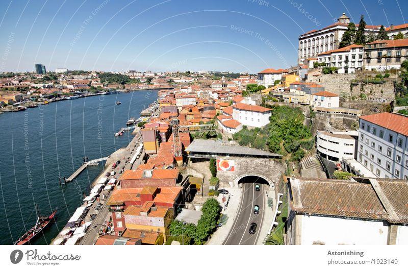 Stadt am Fluss Umwelt Natur Wasser Himmel Wolkenloser Himmel Horizont Sommer Wetter Schönes Wetter Wärme Pflanze Baum Sträucher Flussufer Douro Porto Portugal