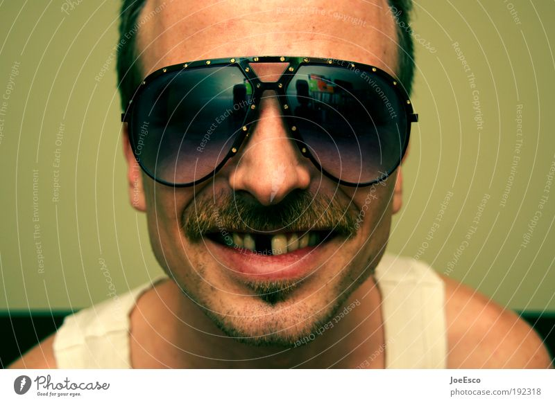 bang boom bang Mann Freude Kopf Gefühle Glück Erwachsene Feste & Feiern verrückt Fröhlichkeit maskulin Coolness retro Gebiss leuchten Gesicht Bart