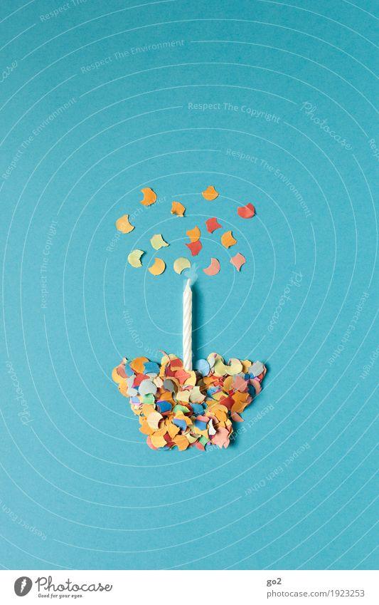 Geburtstagskuchen blau Freude Glück Party Feste & Feiern Zufriedenheit Dekoration & Verzierung ästhetisch Kreativität Fröhlichkeit Idee Lebensfreude Kerze