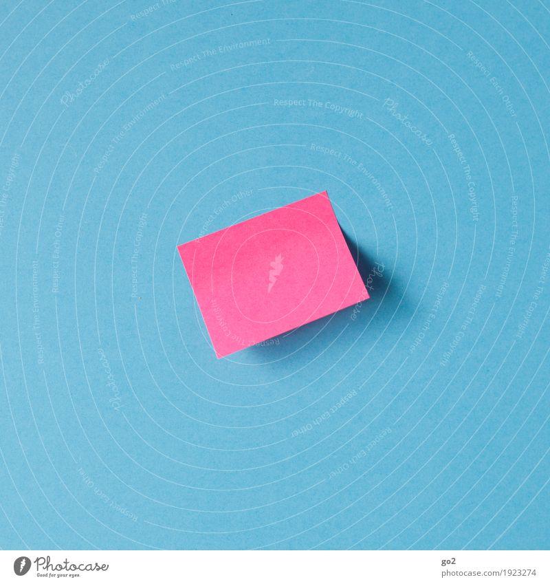 Nachricht blau sprechen rosa Kommunizieren Schilder & Markierungen Kreativität Idee einfach Papier Information Kontakt Inspiration Termin & Datum Zettel blanko