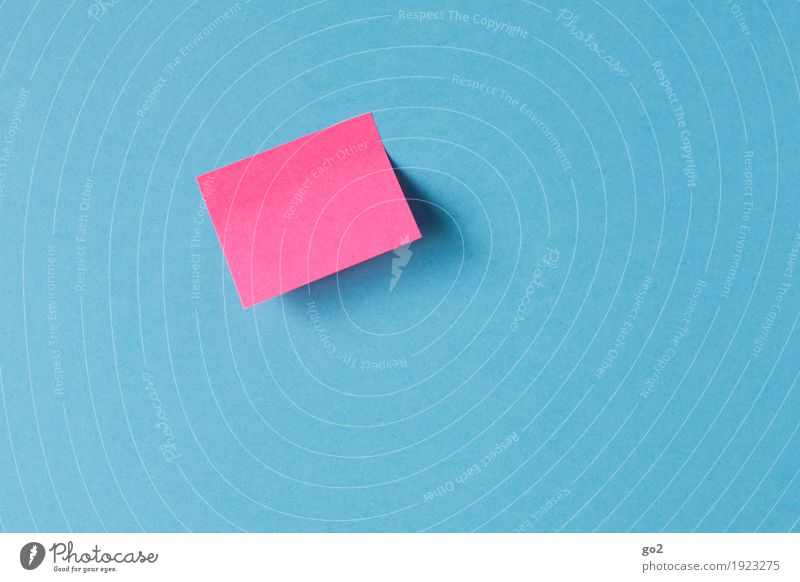 Notiz Bildung Schule Studium Arbeitsplatz Büro Medienbranche Sitzung sprechen Zettel Papier einfach blau rosa Kommunizieren Information blanko leer
