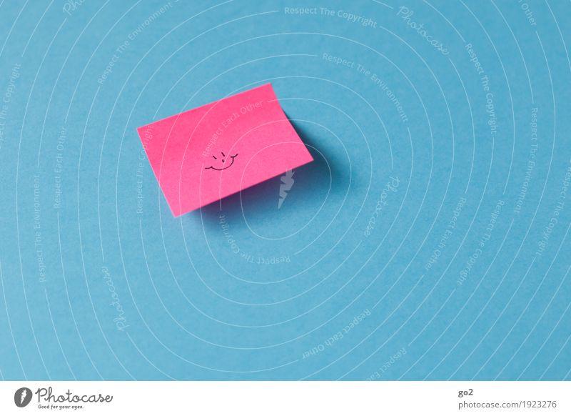 :-) Freude Glück Feste & Feiern Geburtstag Erfolg Sitzung Zettel Papier Zeichen Smiley Lächeln lachen Freundlichkeit Fröhlichkeit niedlich positiv blau rosa