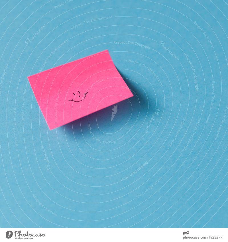 Nette Nachricht Freude Glück Geburtstag Erfolg Sitzung Zettel Zeichen Smiley Lächeln lachen Freundlichkeit Fröhlichkeit niedlich positiv blau rosa Zufriedenheit