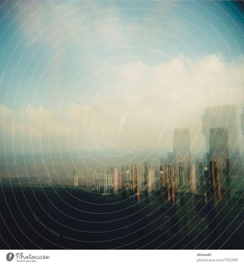 Höhenrausch Natur Himmel blau Wolken Holz Park Landschaft Luft Wetter Horizont Erde Urelemente Schönes Wetter Doppelbelichtung abstrakt Muster