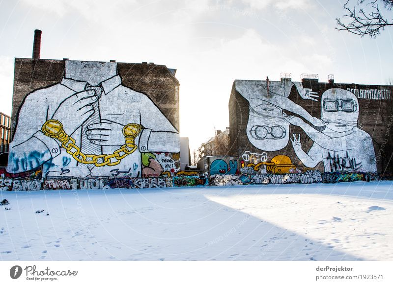Es war einmal: Graffiti am Cuvry-Gelände Ferien & Urlaub & Reisen Stadt Landschaft Winter Architektur Umwelt Wand Schnee Berlin Gebäude Mauer Kunst Freiheit