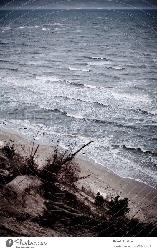 Winterstrand Wasser blau Winter Strand Einsamkeit kalt grau Sand Landschaft Wellen Küste Ostsee Kur schlechtes Wetter Meer