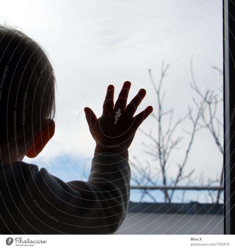 Noch einmal schlafen kleiner Mann Mensch Hand Winter Junge Gefühle Fenster Traurigkeit Baby Stimmung warten klein Kind Häusliches Leben Wunsch Sehnsucht