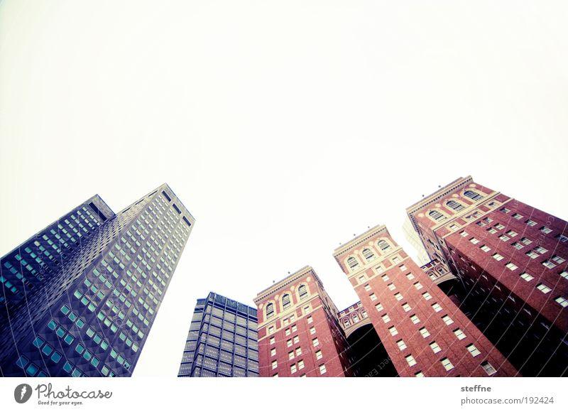 Die 3 Zinnen Wolkenloser Himmel Schönes Wetter Pittsburgh USA Stadtzentrum Skyline Hochhaus Mauer Wand Fassade Fenster Business Fortschritt Wachstum Farbfoto