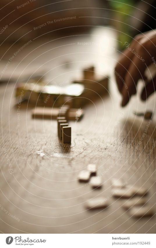 Domino Spiel Freude Spielen braun zug machen würfeln Hand Tisch Holz Unschärfe Morgendämmerung Sonntag Farbfoto Gedeckte Farben Innenaufnahme Detailaufnahme