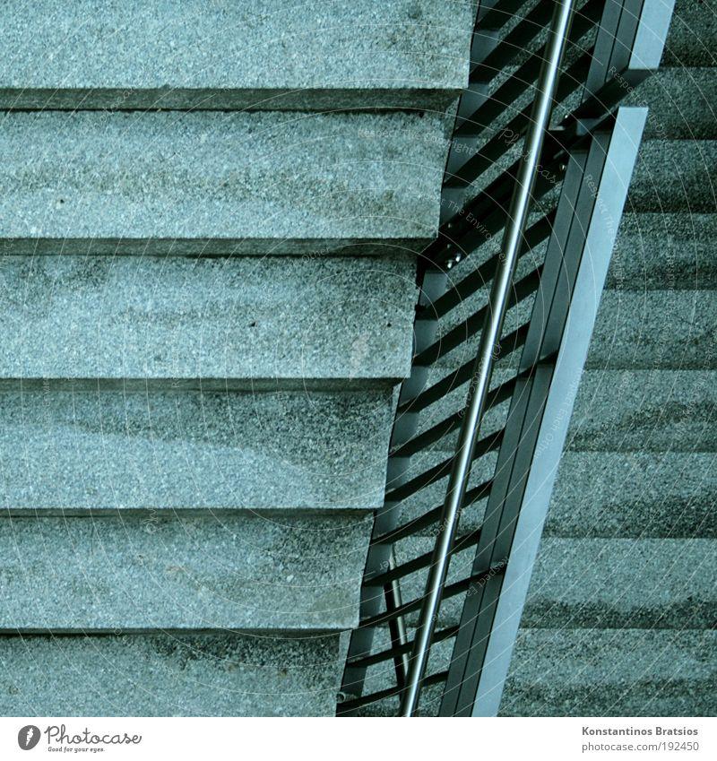 =/= Bewegung Wege & Pfade Metall Linie gehen laufen Beton Treppe Perspektive Ecke einfach Ziel festhalten unten fest Geländer