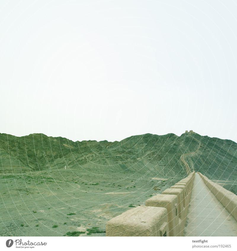 dein hoffen läßt lächeln Umwelt Natur Himmel Berge u. Gebirge Mauer Wand gehen wild schutzwall abgrenzen einschließen aussperren Chinesische Mauer restauriert
