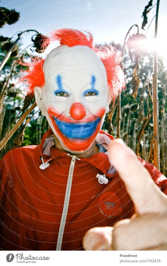 i tell you... Natur Angst lustig maskulin verrückt Kommunizieren bedrohlich geheimnisvoll gruselig trashig skurril Sonnenblume bizarr Surrealismus anonym Clown