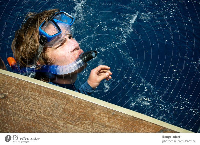 20 000 Meilen unter dem Meer Mensch Wasser Meer blau Sommer Gesicht Luft Wellen Wind maskulin Wassertropfen Fisch Freizeit & Hobby tauchen atmen