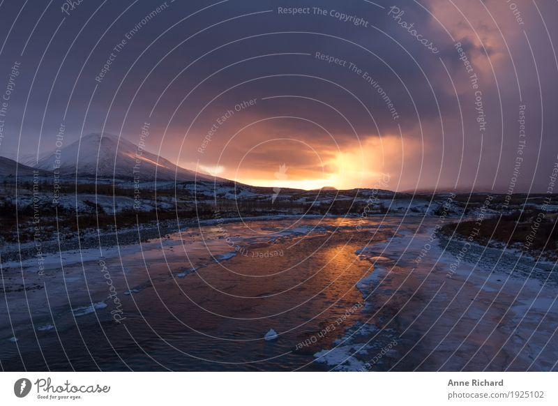 Winter sunrise in Iceland Himmel Natur Pflanze blau Wasser Landschaft Wolken Tier Winter Ferne Berge u. Gebirge Umwelt gelb Freiheit Felsen orange