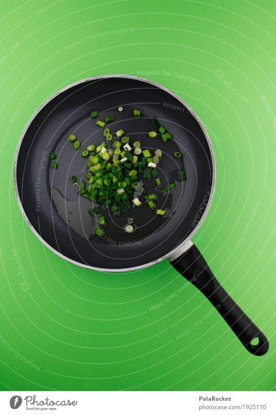 #AS# Auf der Pfanne Kunst Kunstwerk ästhetisch Zwiebel Lauchzwiebel grün kochen & garen Bioprodukte Biologische Landwirtschaft braten Farbfoto mehrfarbig