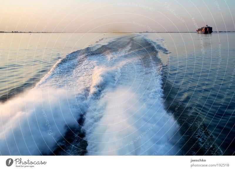 Elbrunner Wasser Ferne Bewegung Wasserfahrzeug Wellen Geschwindigkeit fahren Fluss Hafen Schifffahrt Elbe Wasseroberfläche Gischt Schiffsbug Sonnenaufgang