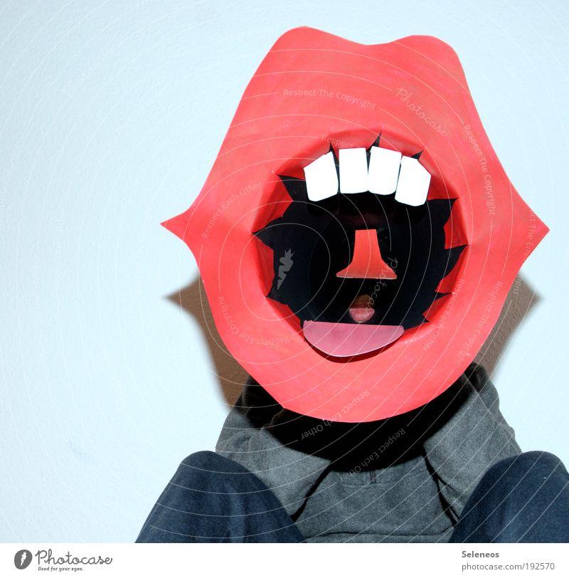 Großfresse Mensch Gesicht Kopf Kunst Raum Freizeit & Hobby Mund Arme verrückt außergewöhnlich Stoff Kommunizieren Zähne Lippen Porträt Zeichen