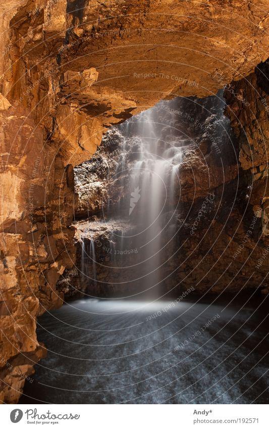 Smoo Cave Ferien & Urlaub & Reisen Tourismus Ferne Meer Insel Schottland Highlands Natur Landschaft Erde Wasser Felsen Küste Bach Wasserfall Höhle Stein
