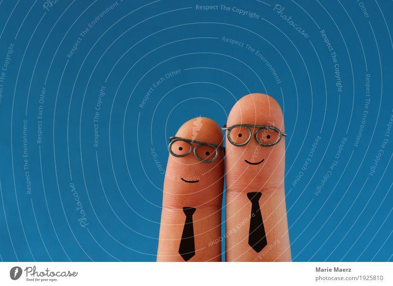 Zwei lachende Geschäftsleute mit Schlips und Brille Mensch Mann Erwachsene Glück Business Zufriedenheit Erfolg Team Beratung Teamwork positiv Comic