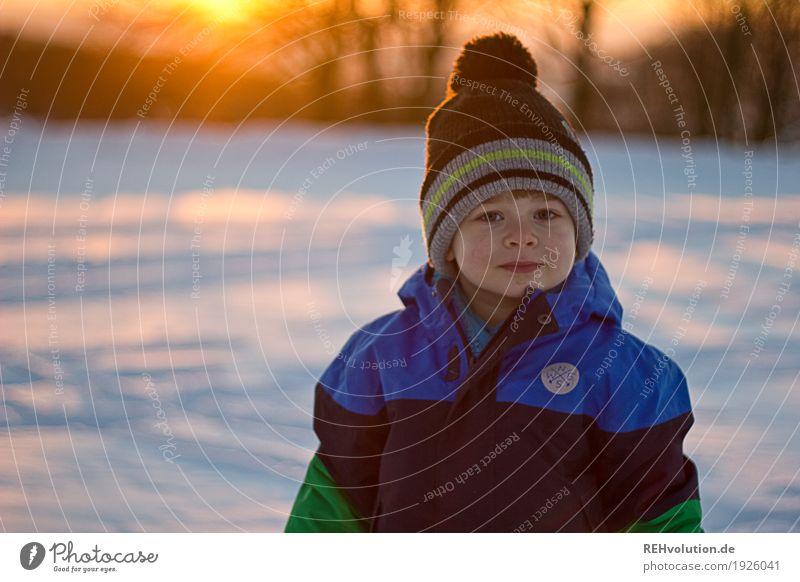 Wintersonne Mensch Kind Natur Freude Gesicht Umwelt kalt natürlich Schnee Junge klein Glück Freizeit & Hobby maskulin Zufriedenheit