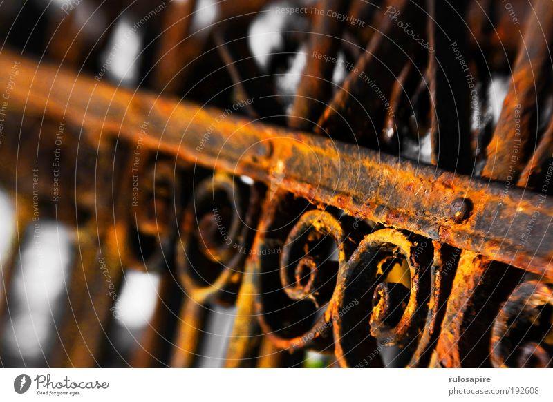 Rostzaun #1 alt rot Garten braun Metall Sicherheit nah Schutz Vergänglichkeit Kreuz Handwerk Vergangenheit historisch Zaun Eisen