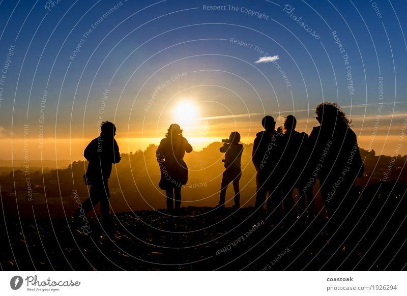 Evening Sun at Twin Peaks, San Francisco Mensch 6 Menschengruppe Wasser Himmel Sonnenaufgang Sonnenuntergang Herbst Schönes Wetter Küste rennen beobachten Blick
