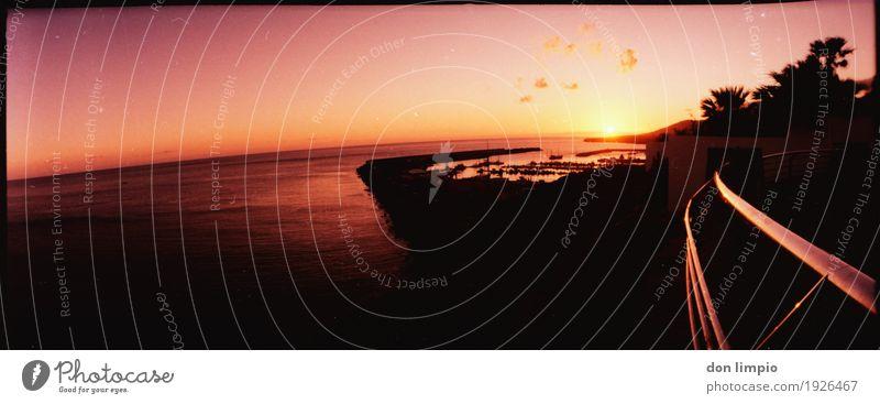 Sunset (so Large yo!) Sommer Meer ruhig Ferne Wärme glänzend Perspektive rund Unendlichkeit Bucht Spanien Reichtum exotisch analog Terrasse maritim