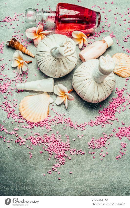 Spa oder Wellness mit Kräuterstempel Stil Design Leben harmonisch Wohlgefühl Erholung Duft Kur Massage Bad Natur Gesundheit Gesundheitswesen Produkt