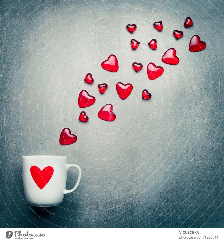 Valentinstag und Liebe mit Herzen und Tasse Getränk Stil Design Dekoration & Verzierung Feste & Feiern Geburtstag retro Gefühle Freude Verliebtheit sentimental
