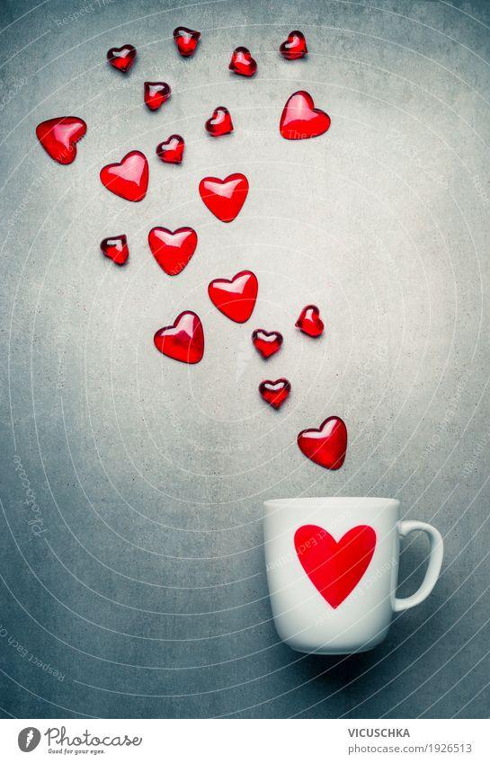 Tasse und fliegende Herzen rot Gefühle Liebe Stil Feste & Feiern Party Design Dekoration & Verzierung retro Geburtstag Zeichen Getränk Kaffee