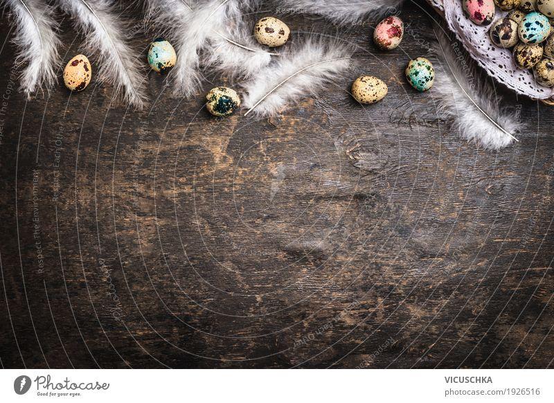 Ostern Hintergrund mit bunten Eiern und Federn Stil Design Dekoration & Verzierung Feste & Feiern Natur Tradition Hintergrundbild Symbole & Metaphern