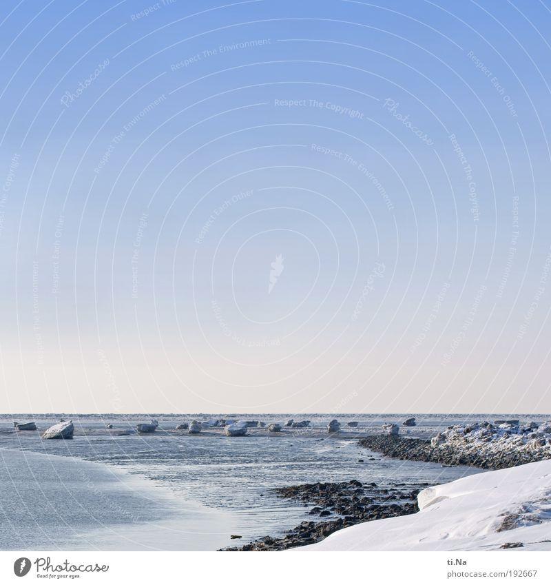 es war schön ruhig Tourismus Ausflug Freiheit Meer Winter Schnee Umwelt Natur Landschaft Urelemente Luft Wasser Horizont Schönes Wetter Eis Frost Küste Nordsee