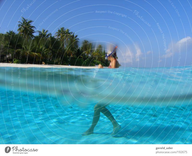 Woman in lagoon on tropical island Mensch Wasser Ferien & Urlaub & Reisen Meer Sommer Strand Freude Ferne Freiheit Küste Wellen Schwimmen & Baden Abenteuer