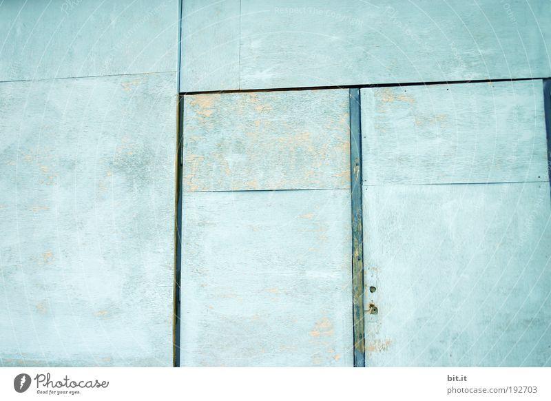 TEXTFREIRAUM ruhig Haus Bühne Hütte Gebäude Architektur Mauer Wand Fassade Garten Tür träumen Häusliches Leben frei trashig blau bescheiden Linie Gartenhaus