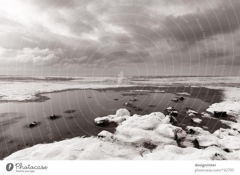 Watt n´ Winter Natur Meer Ferien & Urlaub & Reisen Wolken Ferne kalt Schnee Freiheit Eis Wetter Umwelt groß Horizont Frost Tourismus