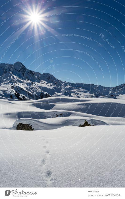 Winterwanderung II Winterurlaub Natur Landschaft Himmel Wolkenloser Himmel Sonne Sonnenlicht Schönes Wetter Schnee Felsen Berge u. Gebirge Sonnenkopf