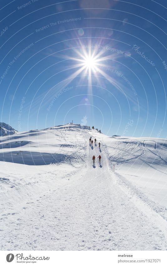 Sonnenstern - Wanderung Ferien & Urlaub & Reisen blau weiß Landschaft Erholung Winter Berge u. Gebirge kalt Schnee Tourismus Felsen leuchten wandern Eis