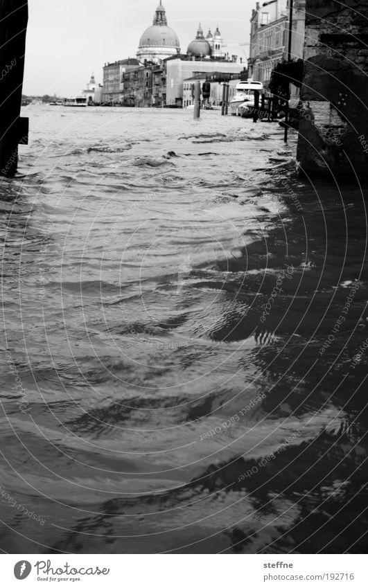 Hier kommt die Flut Wasser schön Kirche Fluss Italien außergewöhnlich Stadtzentrum Venedig Bekanntheit Sehenswürdigkeit Altstadt Gebäude Schwarzweißfoto