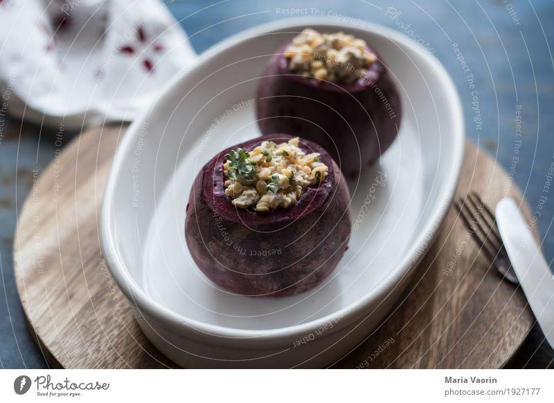 Rote Beete - gefüllt Lebensmittel Gemüse Ernährung Mittagessen Abendessen Bioprodukte Vegetarische Ernährung Duft lecker Tofu Linsen Besteck Gabel roh