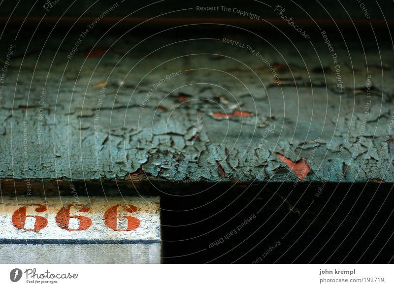 sympathy for the devil Mauer Wand Fassade Häusliches Leben dunkel historisch kaputt grau rot schwarz Glaube Angst Volksglaube Tod Teufel 666 Religion & Glaube