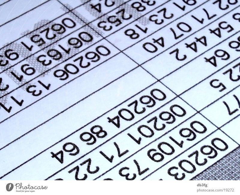 Zahlenreihen Ziffern & Zahlen Anordnung Computernetzwerk Informationstechnologie Datenbank