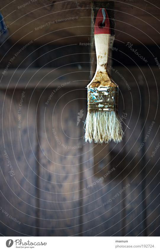 Pinsel Handwerker Anstreicher Baustelle Dienstleistungsgewerbe Arbeitslosigkeit Feierabend Arbeit & Erwerbstätigkeit streichen alt dreckig einfach braun