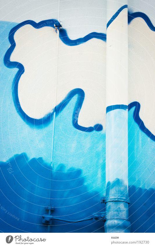 Wasserrutsche Himmel blau weiß Freude Wolken Graffiti Wand Mauer Gebäude lustig Kunst Fassade authentisch Design einfach Zeichen