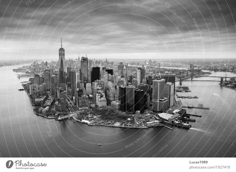 New York City Skyline Ferien & Urlaub & Reisen Stadt weiß Ferne schwarz Architektur Gebäude grau Tourismus Hochhaus USA Bauwerk Sehenswürdigkeit Wahrzeichen