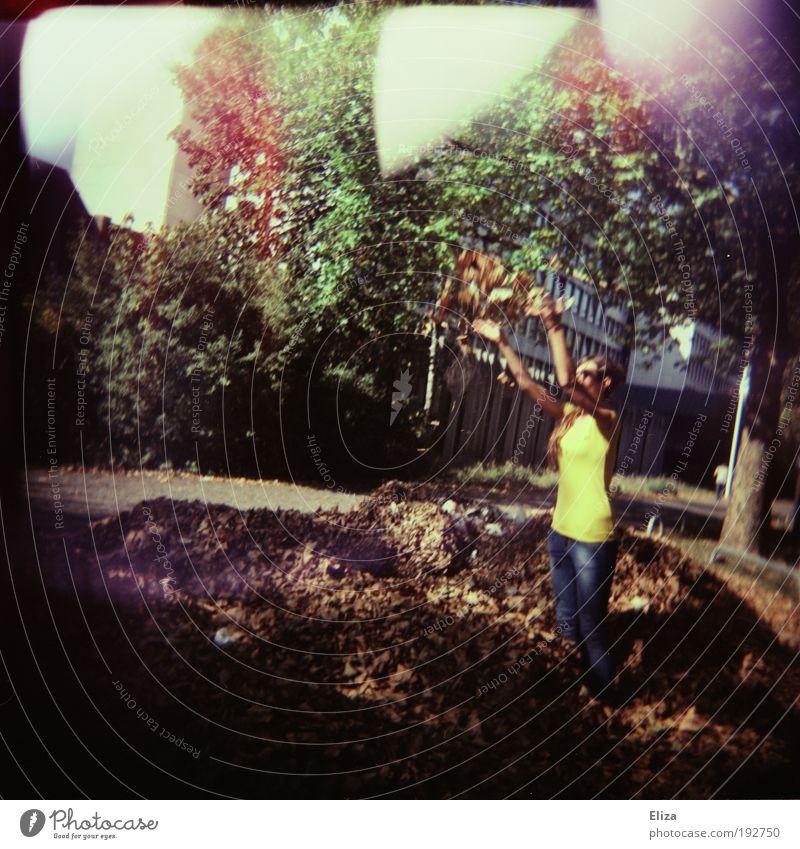 Spielkind Natur Schönes Wetter fantastisch Herbst Blatt Spielen mehrfarbig Freude Lebensfreude Aktion Laubhaufen Baum Lichtfleck Farbfoto Außenaufnahme