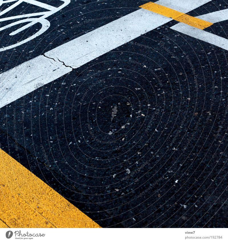 Mark Ferne gelb Linie dreckig Ordnung Beton Design Verkehr authentisch Perspektive neu Streifen Baustelle einzigartig rein Zeichen